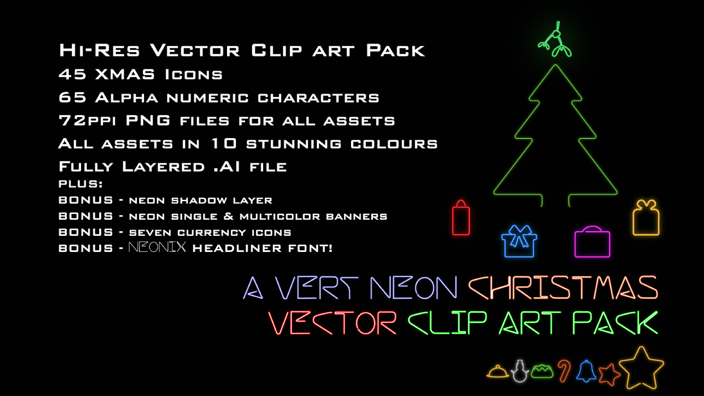 Vector Clipart Pack neon-xmas_featured 01